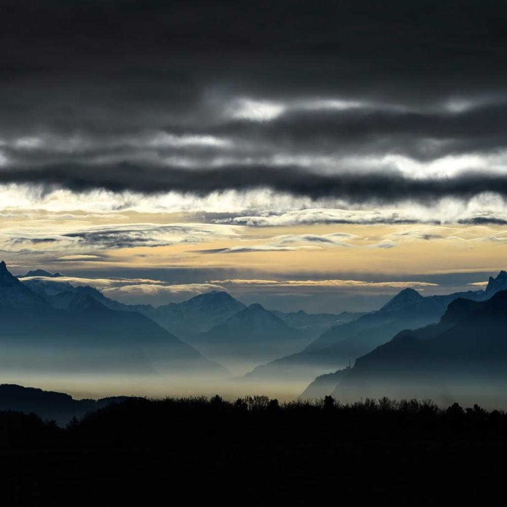 Switzerland : Clouds over the Alps